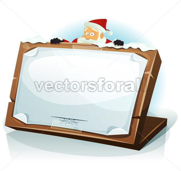Santa Claus Behind Christmas Background - Vectorsforall