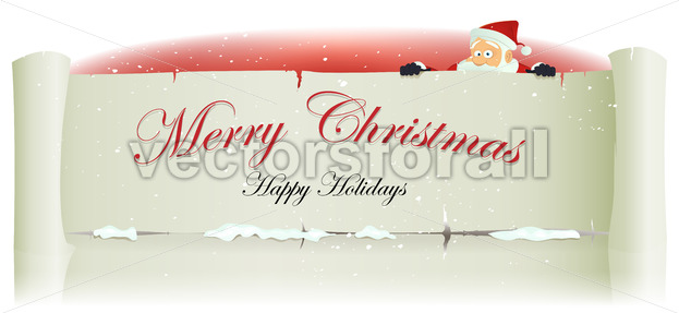 Santa Claus Behind Merry Christmas Parchment Background - Vectorsforall