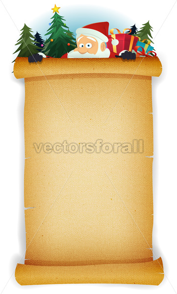 Santa Claus Behind Old Parchment Background - Vectorsforall