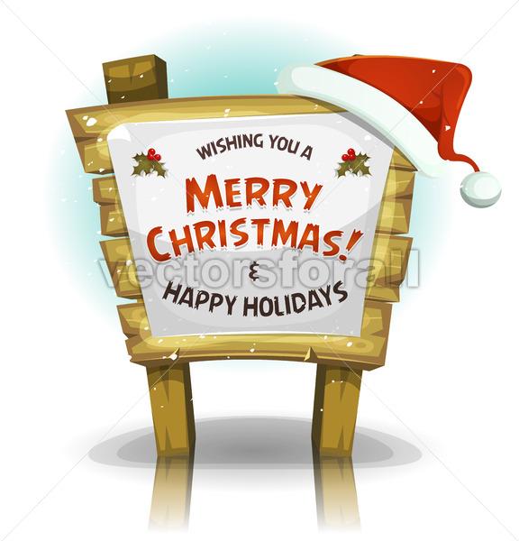 Santa Claus Hat On Funny Wood Sign - Vectorsforall