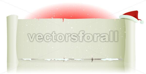 Santa Claus Hat On Merry Christmas Parchment Background - Vectorsforall