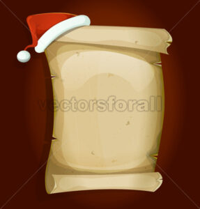 Santa Claus Hat On Old Parchment Scroll - Vectorsforall
