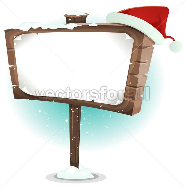 Santa Claus Hat On Wood Sign - Vectorsforall