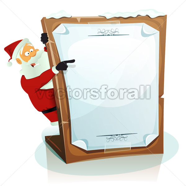 Santa Claus Pointing Christmas Background - Vectorsforall
