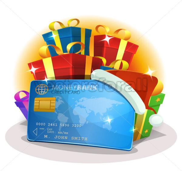 Santa Credit Card For Christmas Shopping - Vectorsforall