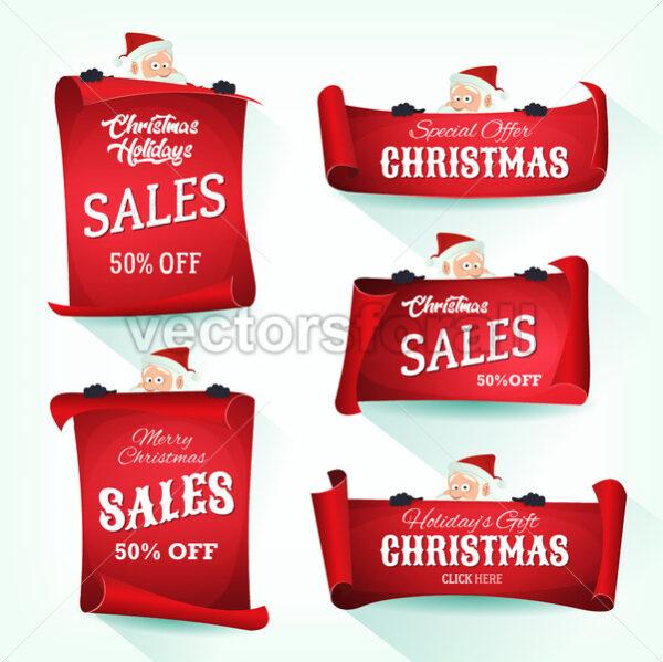 Santa Holding Christmas Parchment Scroll - Vectorsforall