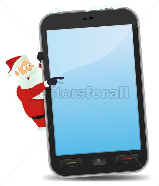 Santa Pointing Smartphone - Vectorsforall