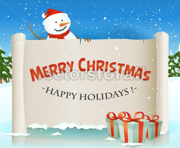 Santa Snowman Behind Christmas Parchment Background - Vectorsforall