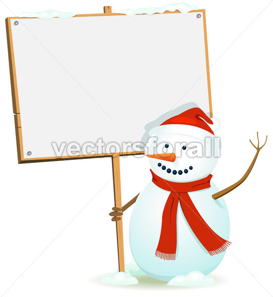 Santa Snowman Holding WOod Sign - Vectorsforall