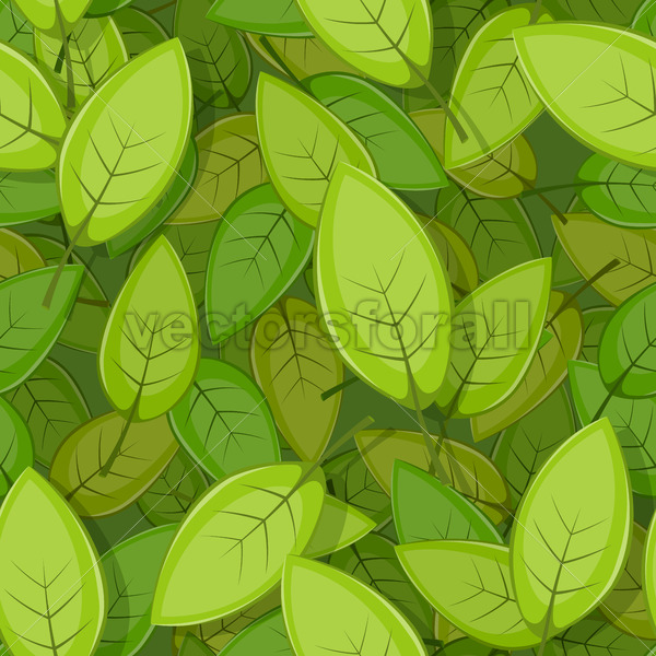 Seamless Green Spring Leaves Background - Vectorsforall