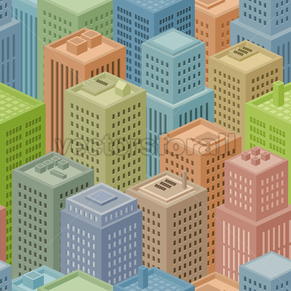 Seamless Isometric City Background - Vectorsforall