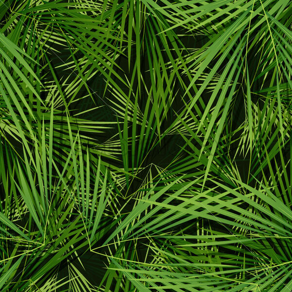 Seamless Palm Trees Leaves Wallpaper - Vectorsforall