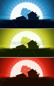 Set Of Ranch House In Wild Country Landscape - Vectorsforall