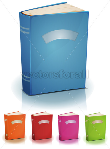 Set Of Standing Books With Label - Vectorsforall