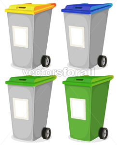 Set Of Urban Recyclable Trash Bin - Vectorsforall