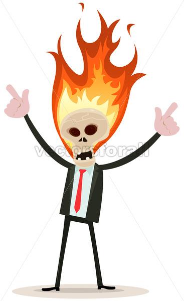 Skeleton Head Devil Businessman - Vectorsforall