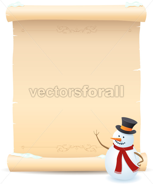 Snowman And Parchment Sign - Benchart's Shop