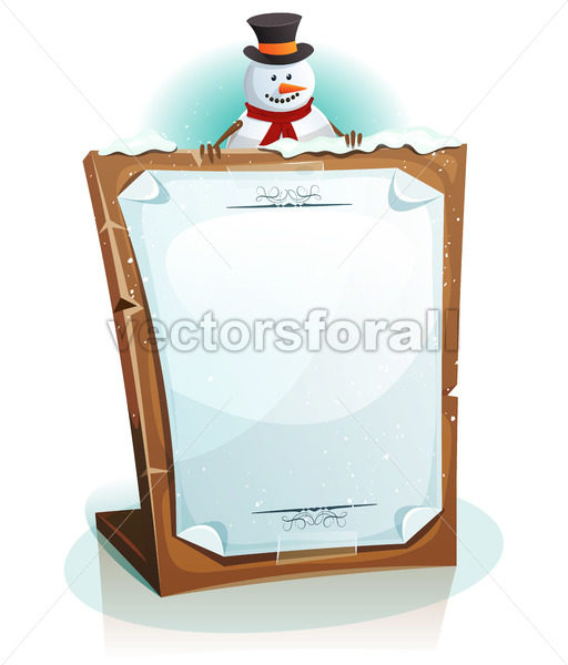 Snowman Holding Christmas Background - Vectorsforall
