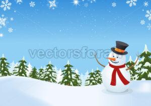 Snowman In Winter Landscape - Benchart's Shop