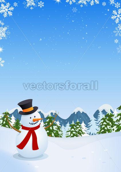 Snowman In Winter Landscape - Vectorsforall