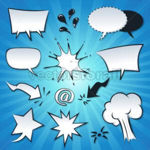 Speech Bubbles, Explosion And Splashes Set - Vectorsforall