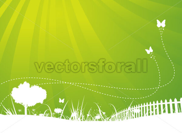 Spring And Summer Butterflies Garden Background - Vectorsforall