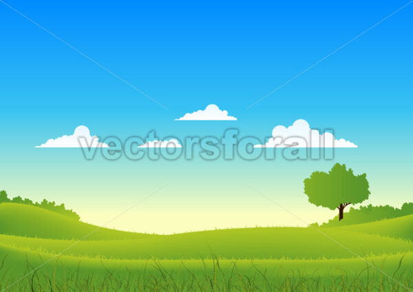 Spring And Summer Country Landscape - Vectorsforall