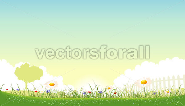 Spring And Summer Flowers Landscape - Vectorsforall