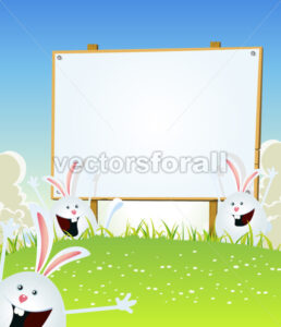 Spring Easter Bunnies Message On Wood Sign - Vectorsforall