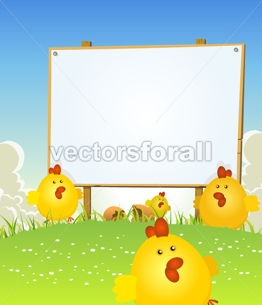 Spring Easter Chicken And Wood Sign - Vectorsforall
