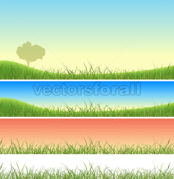 Spring Green Grass Landscape Set - Benchart's Shop