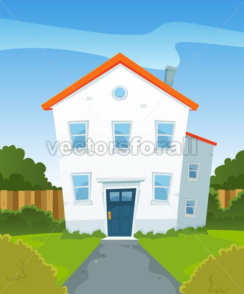 Spring House In Garden - Vectorsforall