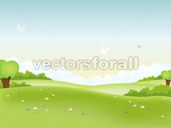 Spring Landscape - Vectorsforall