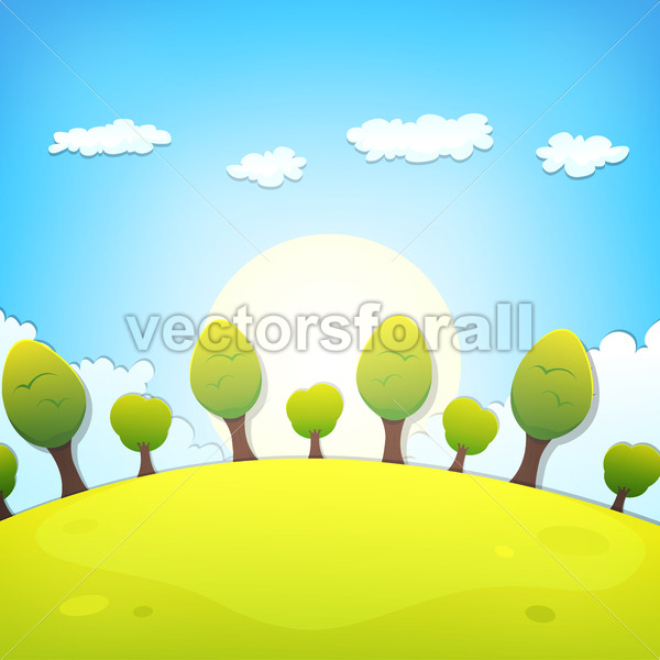 Spring Or Summer Cartoon Landscape - Vectorsforall
