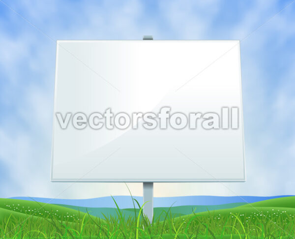 Spring Or Summer Landscape White Billboard - Vectorsforall