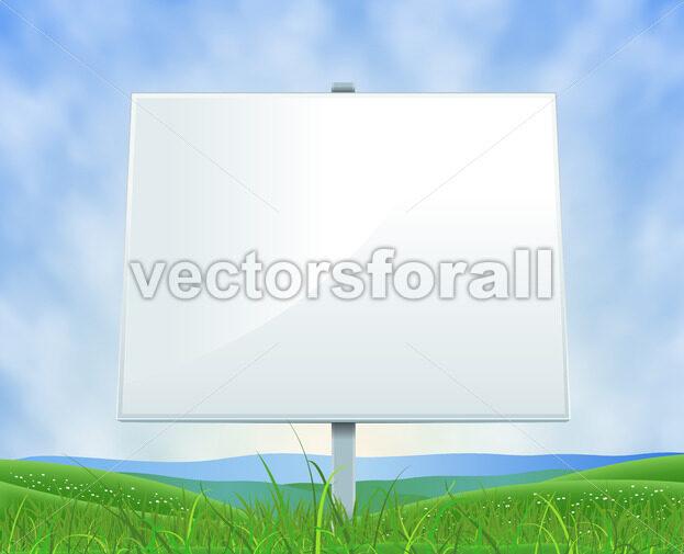 Spring Or Summer Landscape White Billboard - Vectorsforall