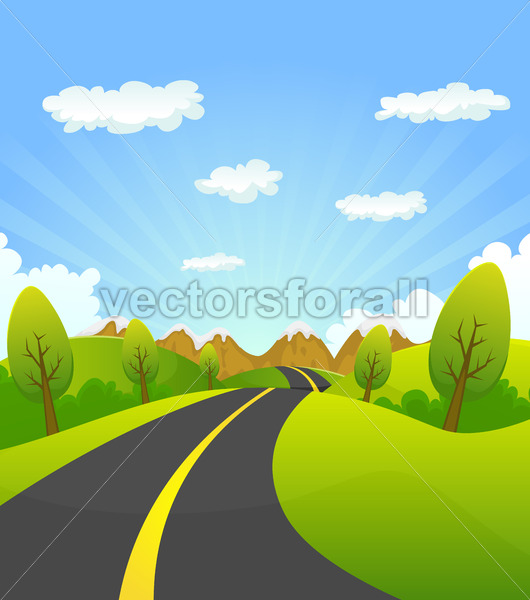 Spring Or Summer Road To The Mountain - Vectorsforall