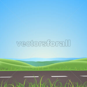 Spring Or Summer Road With Mountains Background - Benchart's Shop
