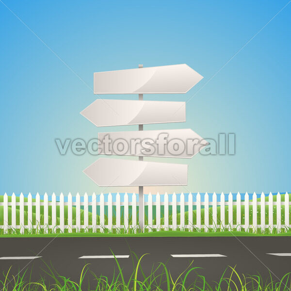 Spring Or Summer Road With White Arrow Signs - Vectorsforall