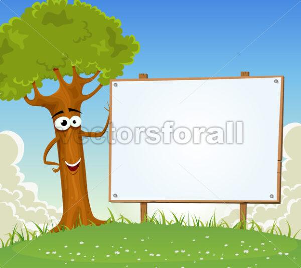 Spring Tree Holding Blank Billboard - Vectorsforall