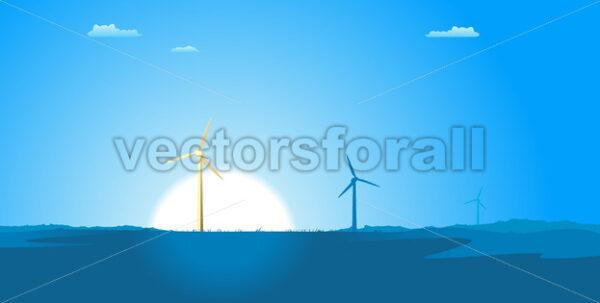 Spring Windmills Landscape - Vectorsforall