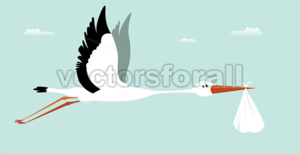 Stork Delivering Baby – It's A Boy - Vectorsforall