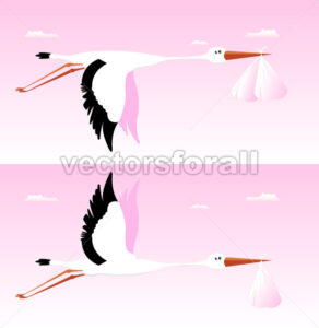 Stork Delivering Baby – It's A Girl - Benchart's Shop