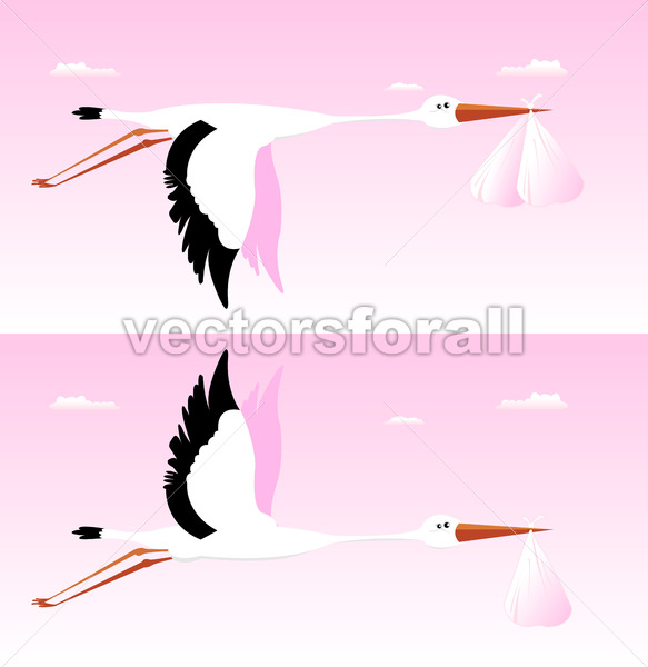 Stork Delivering Baby – It's A Girl - Benchart's Shop