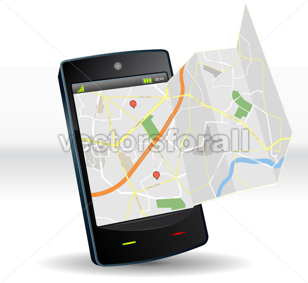 Street Map On Smartphone Mobile Device - Benchart's Shop