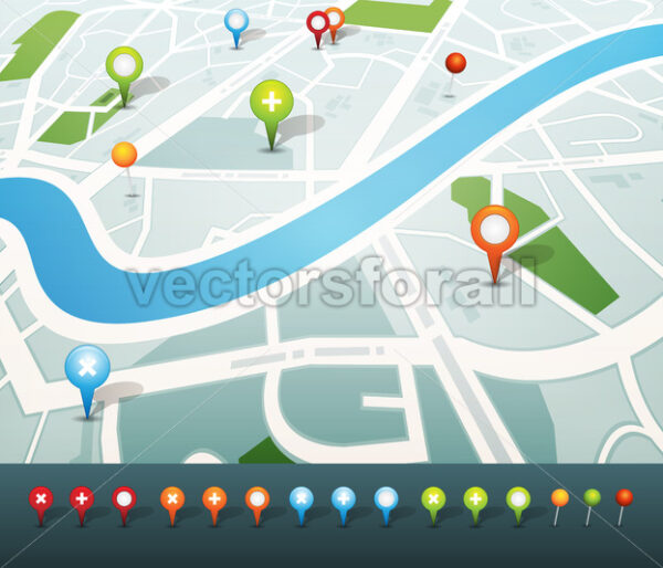Street Map With GPS Pins Icons - Vectorsforall