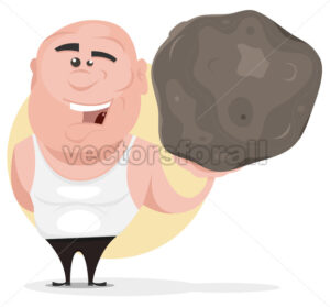 Strong Man Holding Big Boulder - Vectorsforall