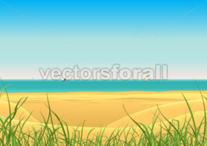 Summer Beach With Sailboat Postcard Background - Benchart's Shop