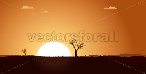 Summer Desert Plain Landscape - Vectorsforall