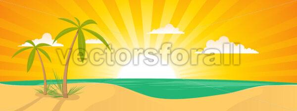Summer Exotic Beach Landscape Banner - Vectorsforall